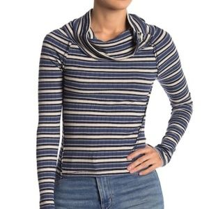 NWT Free People Cape Cod Striped Blue Thermal Top